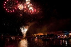 fireworks on the river Vltava in the Czech Republic